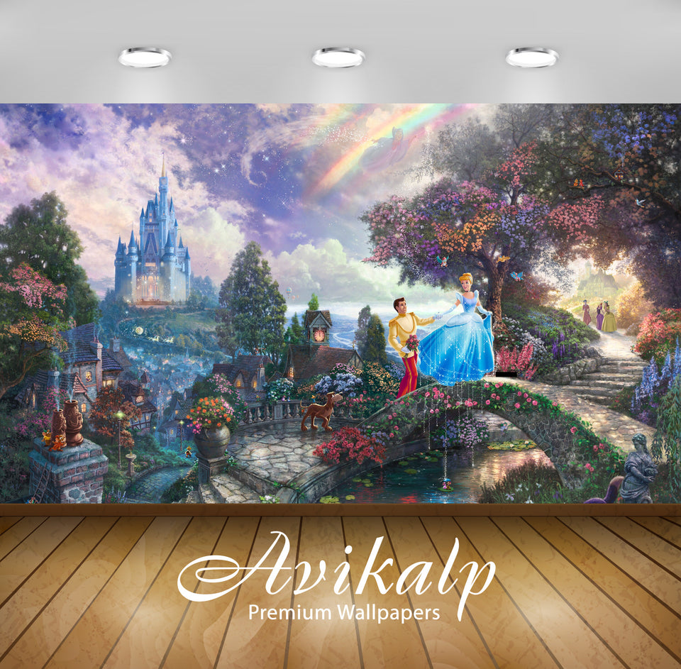 Avikalp Exclusive Cinderella AWI1104 HD Wallpapers for Living room, Hall, Kids Room, Kitchen, TV Bac