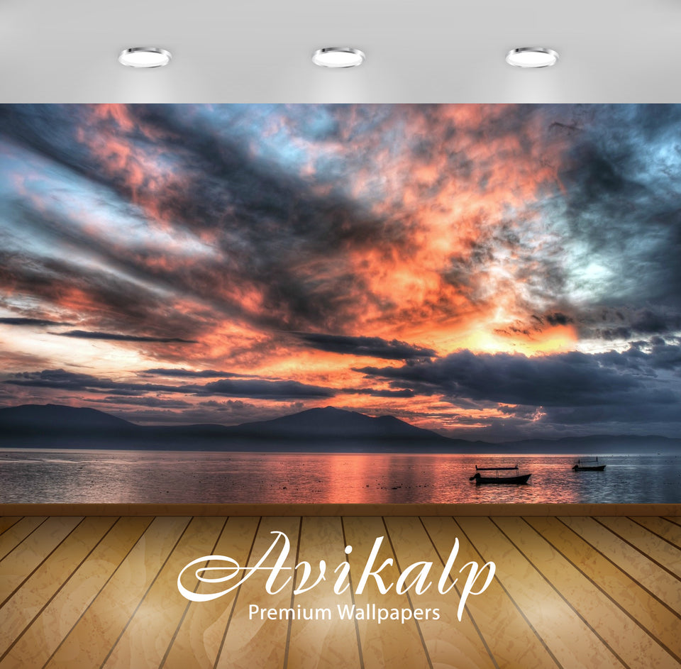 Avikalp Exclusive Clouds Sunset Ocean AWI1108 HD Wallpapers for Living room, Hall, Kids Room, Kitche