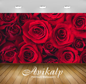 Avikalp Exclusive Red Roses AWI1181 HD Wallpapers for Living room, Hall, Kids Room, Kitchen, TV Back
