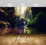 Avikalp Exclusive Scenery Waterfall Lake Nature AWI1199 HD Wallpapers for Living room, Hall, Kids Ro