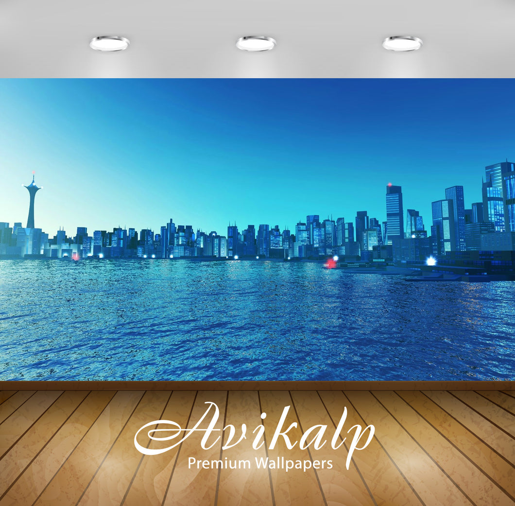 Avikalp Exclusive Skyline AWI1212 HD Wallpapers for Living room, Hall, Kids Room, Kitchen, TV Backgr