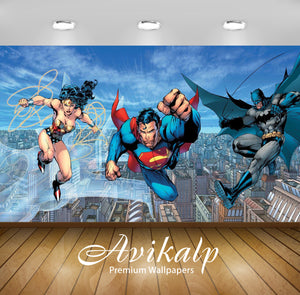Avikalp Exclusive Superman Batman AWI1225 HD Wallpapers for Living room, Hall, Kids Room, Kitchen, T