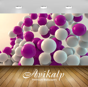 Avikalp Exclusive Awi1281 Purple White Balloons Full HD Wallpapers for Living room, Hall, Kids Room,