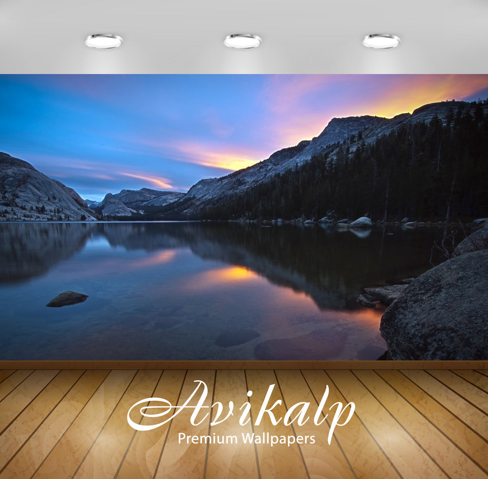 Avikalp Exclusive Awi1298 Lake Mountains Full HD Wallpapers for Living room, Hall, Kids Room, Kitche