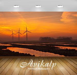Avikalp Exclusive Awi1304 Sunset Windfarm Full HD Wallpapers for Living room, Hall, Kids Room, Kitch