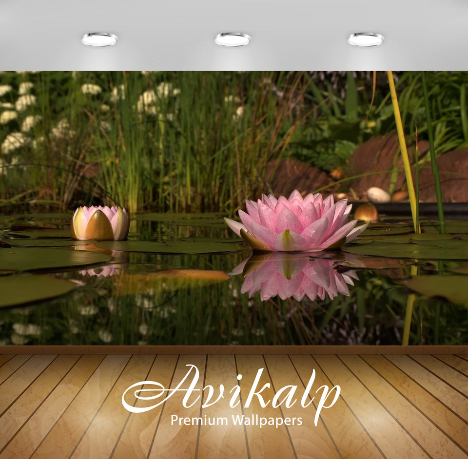 Avikalp Exclusive Awi1312 Lotus Full HD Wallpapers for Living room, Hall, Kids Room, Kitchen, TV Bac