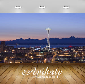 Avikalp Exclusive Awi1317 Space Needle Full HD Wallpapers for Living room, Hall, Kids Room, Kitchen,