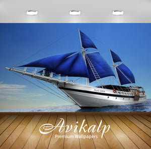 Avikalp Exclusive Awi1320 Ship In Ocean Full HD Wallpapers for Living room, Hall, Kids Room, Kitchen