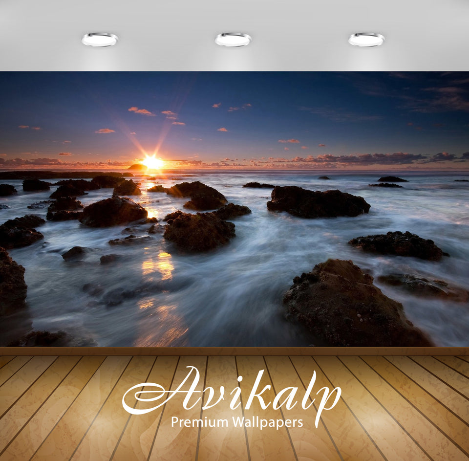 Avikalp Exclusive Awi1363 Sunrise Waterfall Full HD Wallpapers for Living room, Hall, Kids Room, Kit