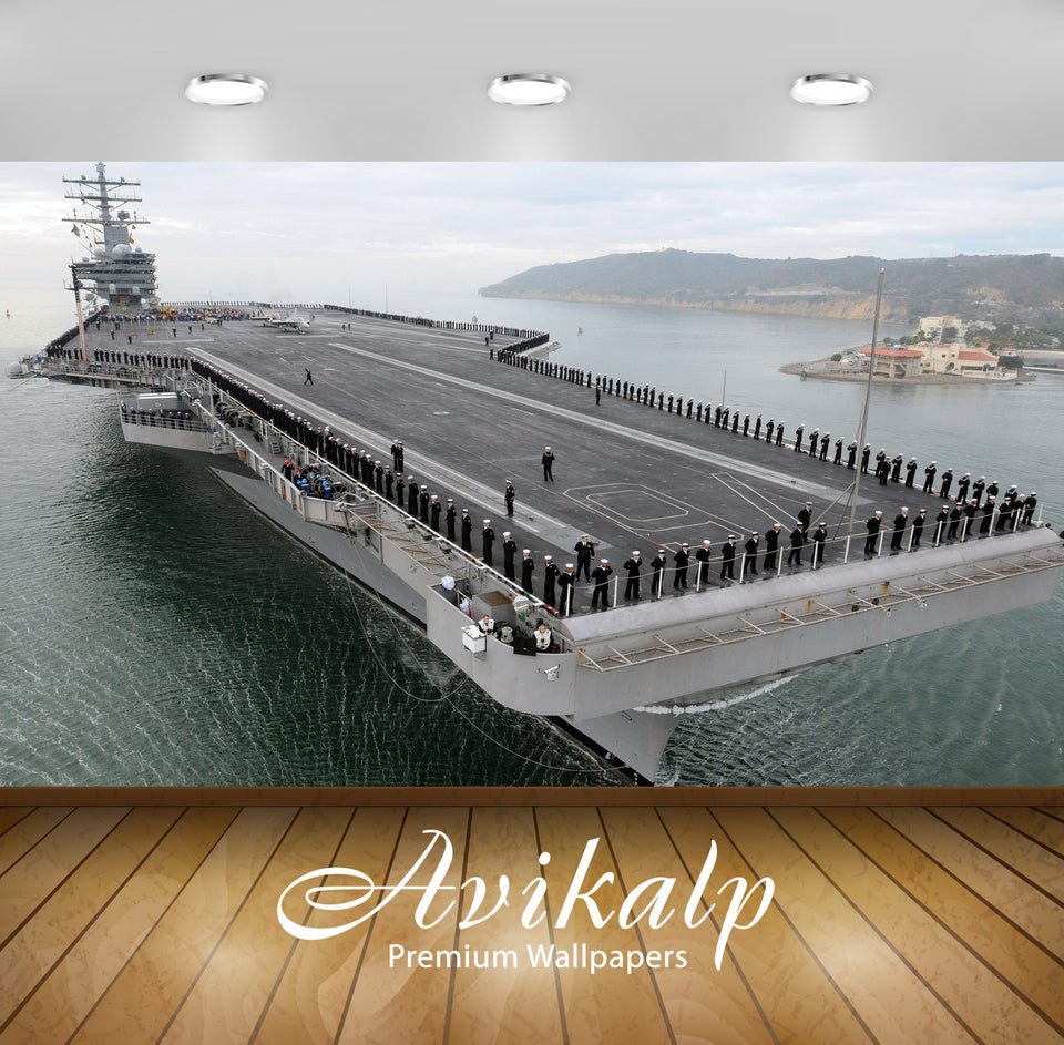 Avikalp Exclusive Awi1364 Us Aircraft Carrier Full HD Wallpapers for Living room, Hall, Kids Room, K