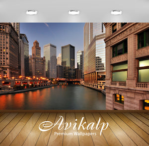 Avikalp Exclusive Awi1366 Chicago City View Full HD Wallpapers for Living room, Hall, Kids Room, Kit