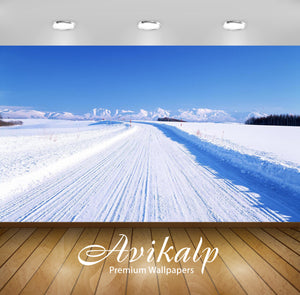 Avikalp Exclusive Awi1372 Winter Road Full HD Wallpapers for Living room, Hall, Kids Room, Kitchen,