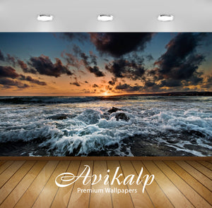 Avikalp Exclusive Awi1448 Beautiful Waves In Sunset Full HD Wallpapers for Living room, Hall, Kids R