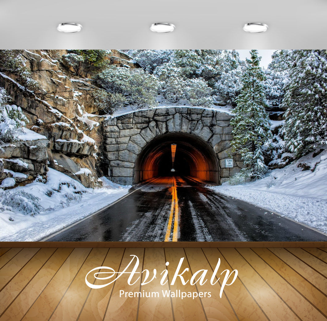Avikalp Exclusive Awi1476 Tunnel In Snowy Mountain Full HD Wallpapers for Living room, Hall, Kids Ro