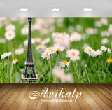 Avikalp Exclusive Awi1491 Eiffel Tower Flowers Art Full HD Wallpapers for Living room, Hall, Kids Ro