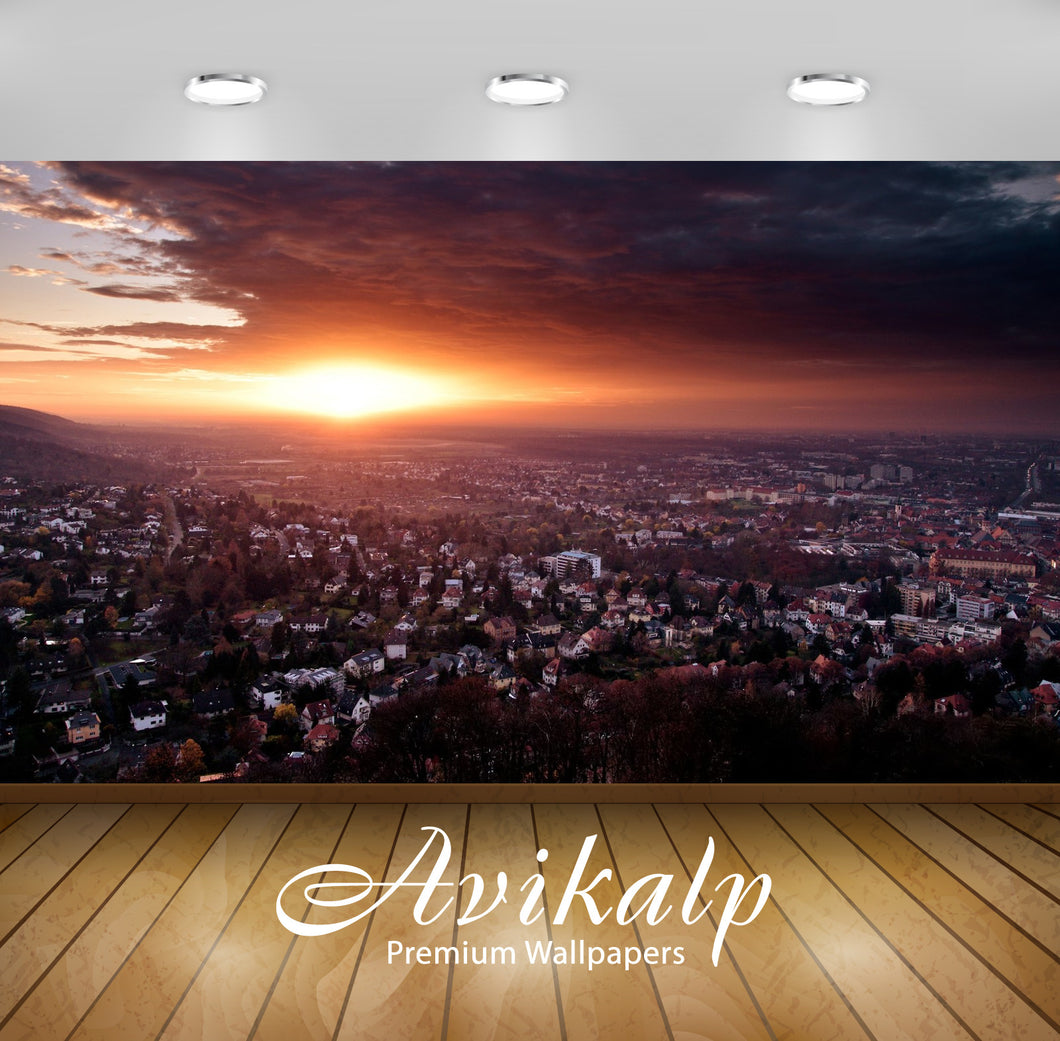 Avikalp Exclusive Awi1503 City Sunset Full HD Wallpapers for Living room, Hall, Kids Room, Kitchen,