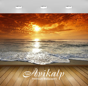 Avikalp Exclusive Awi1512 Beautiful Sunrise Sea Waves Full HD Wallpapers for Living room, Hall, Kids