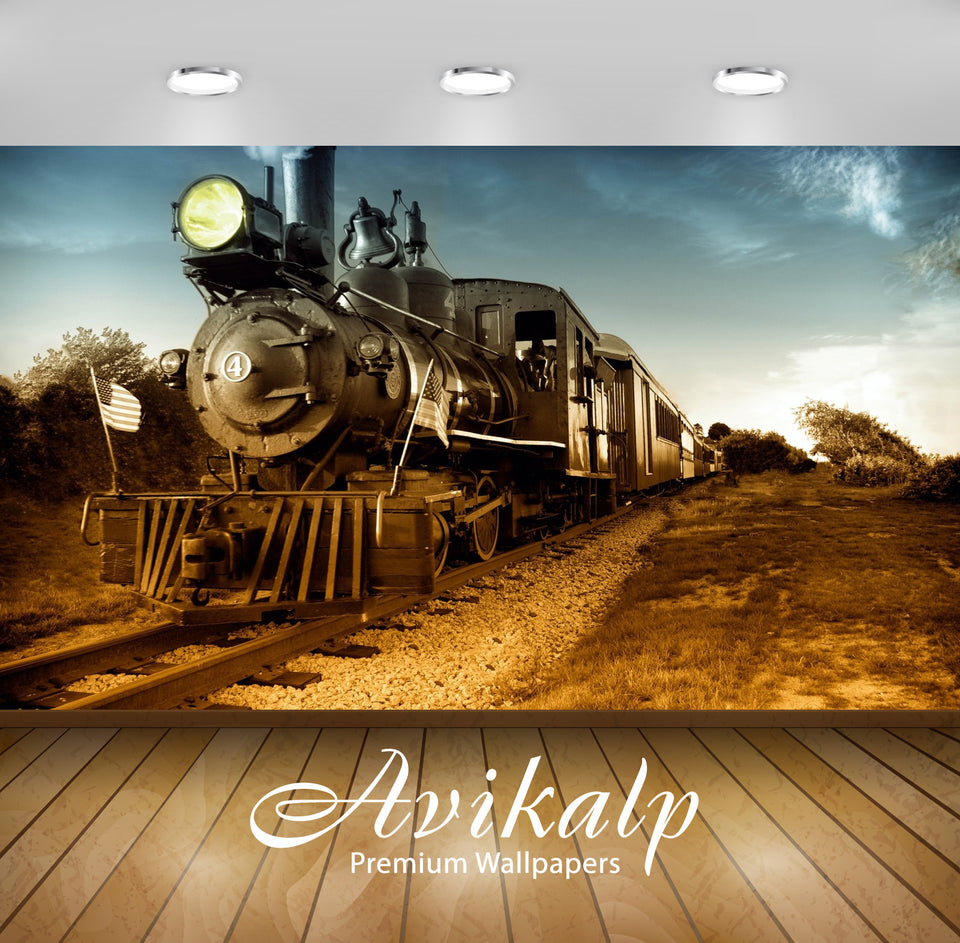 Avikalp Exclusive Awi1527 Train Full HD Wallpapers for Living room, Hall, Kids Room, Kitchen, TV Bac
