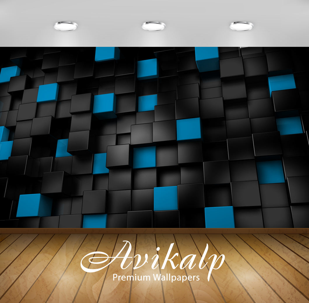 Avikalp Exclusive Awi1539 Black Blue Abstract Full HD Wallpapers for Living room, Hall, Kids Room, K