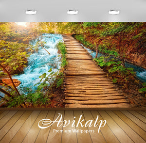 Avikalp Exclusive Awi1558 Beautiful Waterfall Scenery Full HD Wallpapers for Living room, Hall, Kids