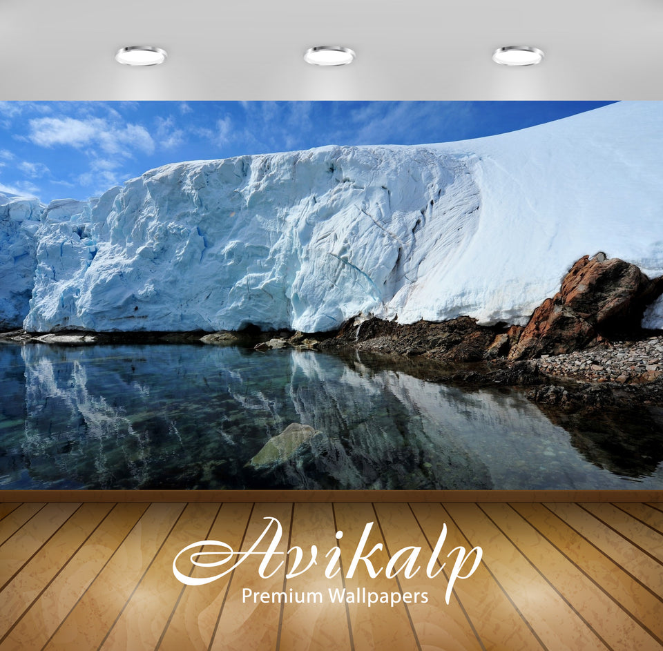Avikalp Exclusive Awi1606 Ice Wall Beautiful Reflection Full HD Wallpapers for Living room, Hall, Ki