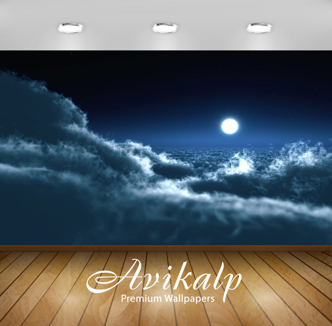 Avikalp Exclusive Awi1626 Clouds Moon Full HD Wallpapers for Living room, Hall, Kids Room, Kitchen,
