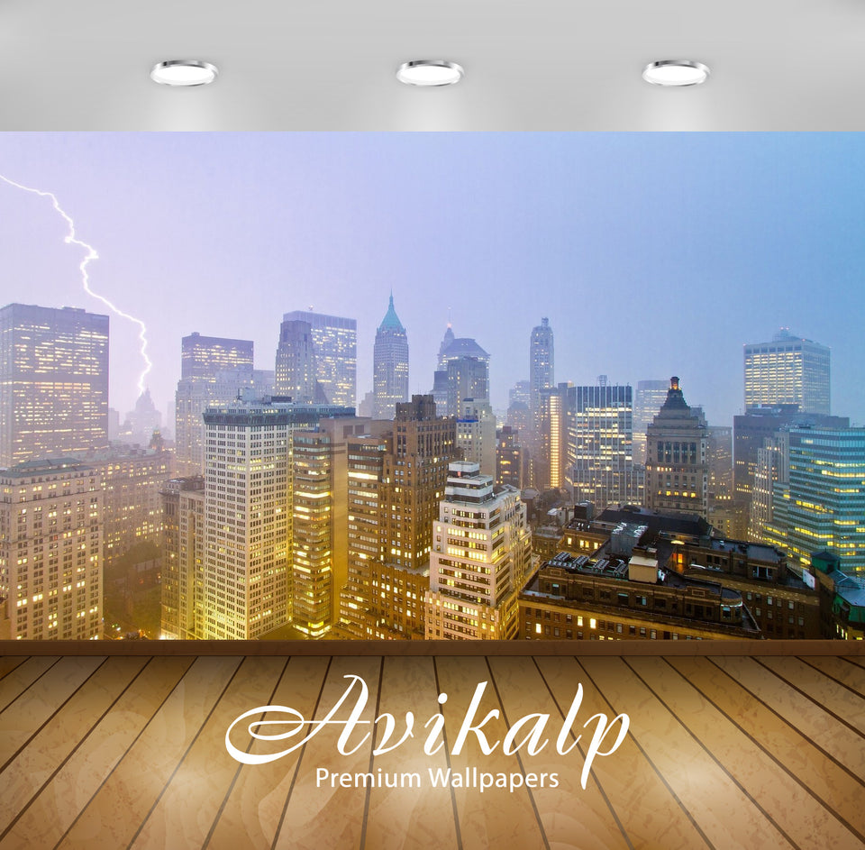 Avikalp Exclusive Awi1636 New York City Lightning View Full HD Wallpapers for Living room, Hall, Kid
