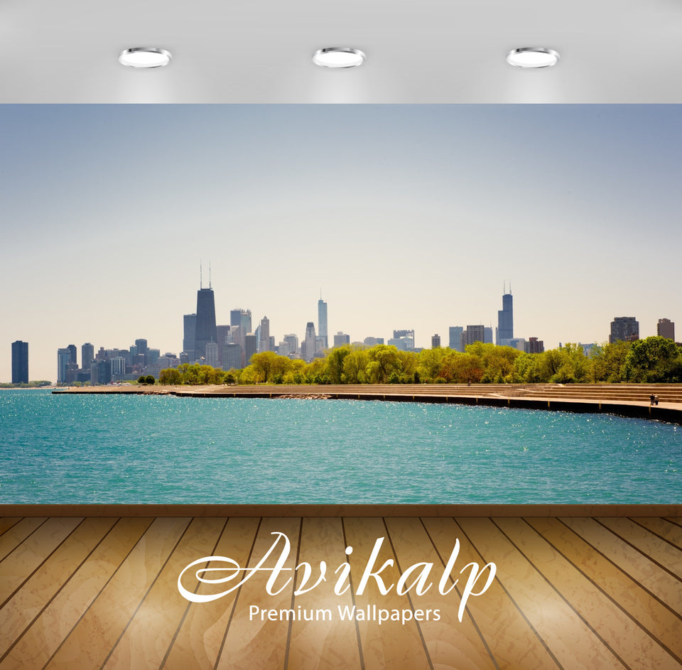 Avikalp Exclusive Awi1709 Chicago City View Full HD Wallpapers for Living room, Hall, Kids Room, Kit