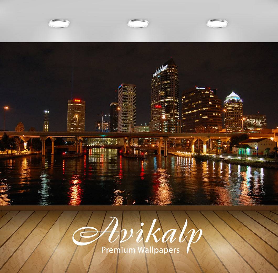 Avikalp Exclusive Awi1749 Downtown Tampa Florida City View Full HD Wallpapers for Living room, Hall,