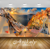 Avikalp Exclusive Awi1757 Santorini Panoramic Nature Full HD Wallpapers for Living room, Hall, Kids