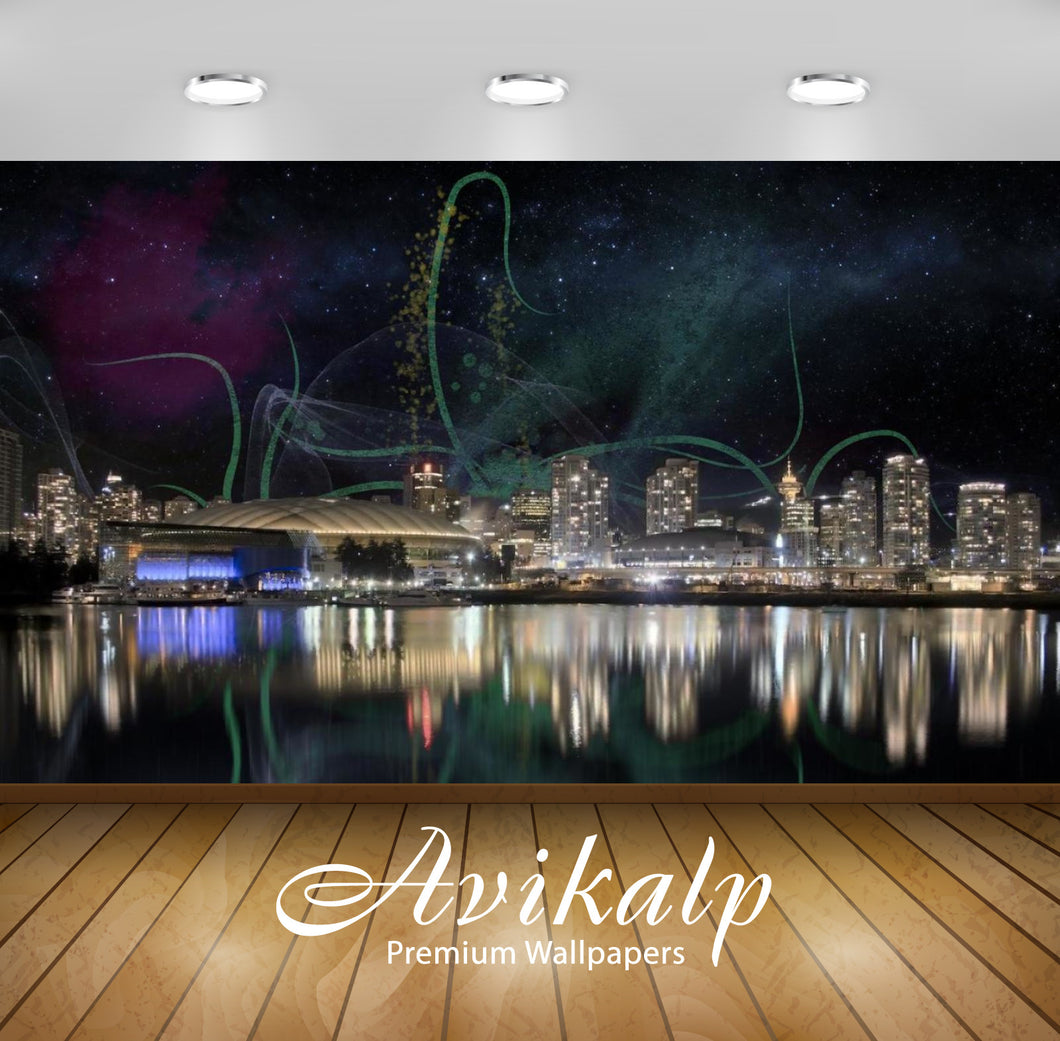 Avikalp Exclusive Awi1776 City Night Sky Firework Full HD Wallpapers for Living room, Hall, Kids Roo