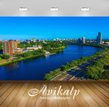 Avikalp Exclusive Awi1788 Beautiful City View Near Lake Full HD Wallpapers for Living room, Hall, Ki