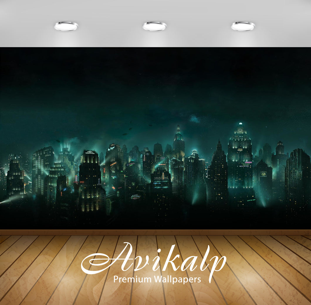 Avikalp Exclusive Awi1798 City View At Night Lights Full HD Wallpapers for Living room, Hall, Kids R