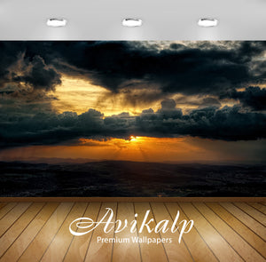 Avikalp Exclusive Awi1821 Beautiful Dark Clouds Sunset Full HD Wallpapers for Living room, Hall, Kid