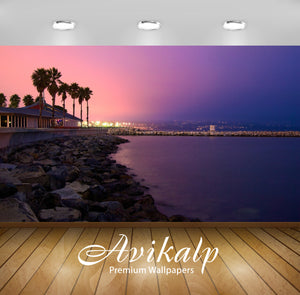 Avikalp Exclusive Awi1847 Beach Night View Full HD Wallpapers for Living room, Hall, Kids Room, Kitc