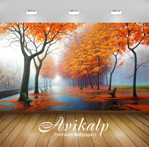 Avikalp Exclusive Awi1860 Park View In Autumn Full HD Wallpapers for Living room, Hall, Kids Room, K