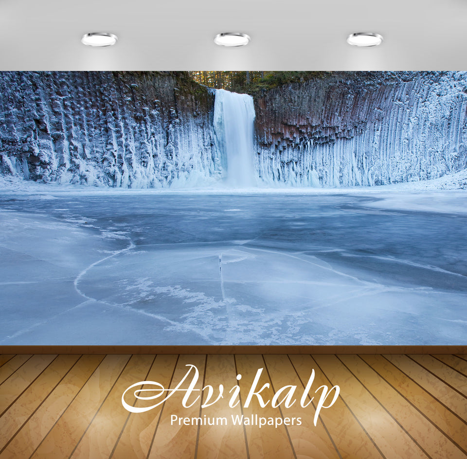 Avikalp Exclusive Awi1865 Snowy Waterfall Full HD Wallpapers for Living room, Hall, Kids Room, Kitch