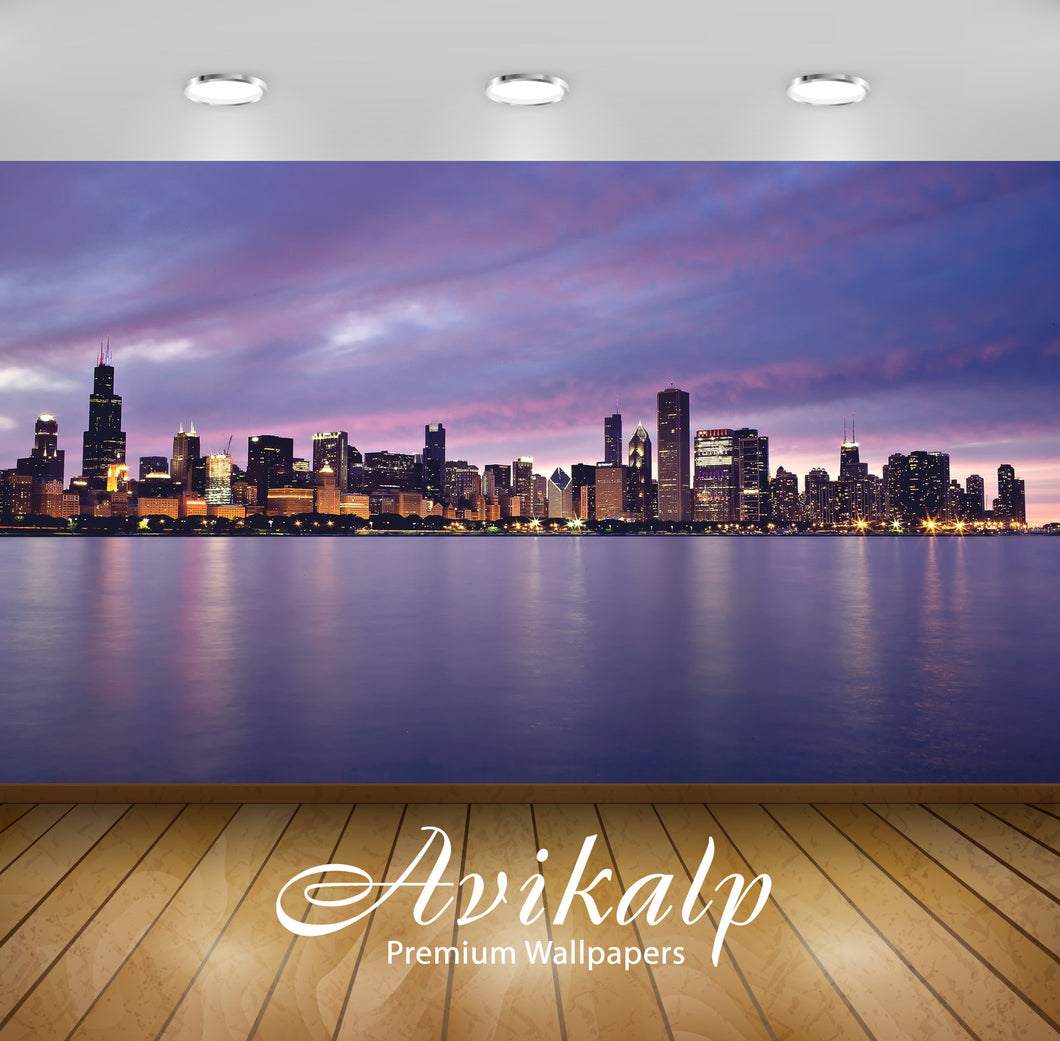 Avikalp Exclusive Awi1886  City Of Chicago Full HD Wallpapers for Living room, Hall, Kids Room, Kitc