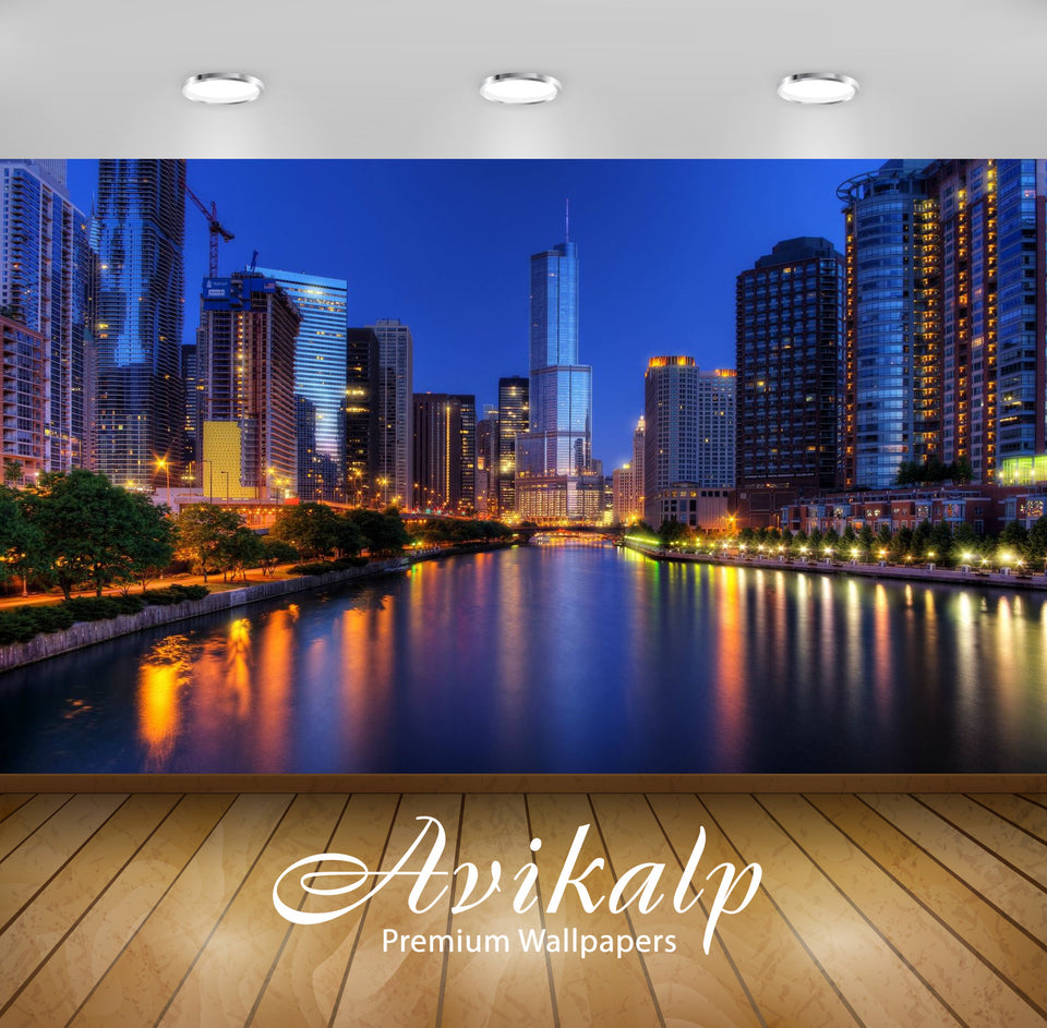 Avikalp Exclusive Awi1889 Chicago City At Night Full HD Wallpapers for Living room, Hall, Kids Room,