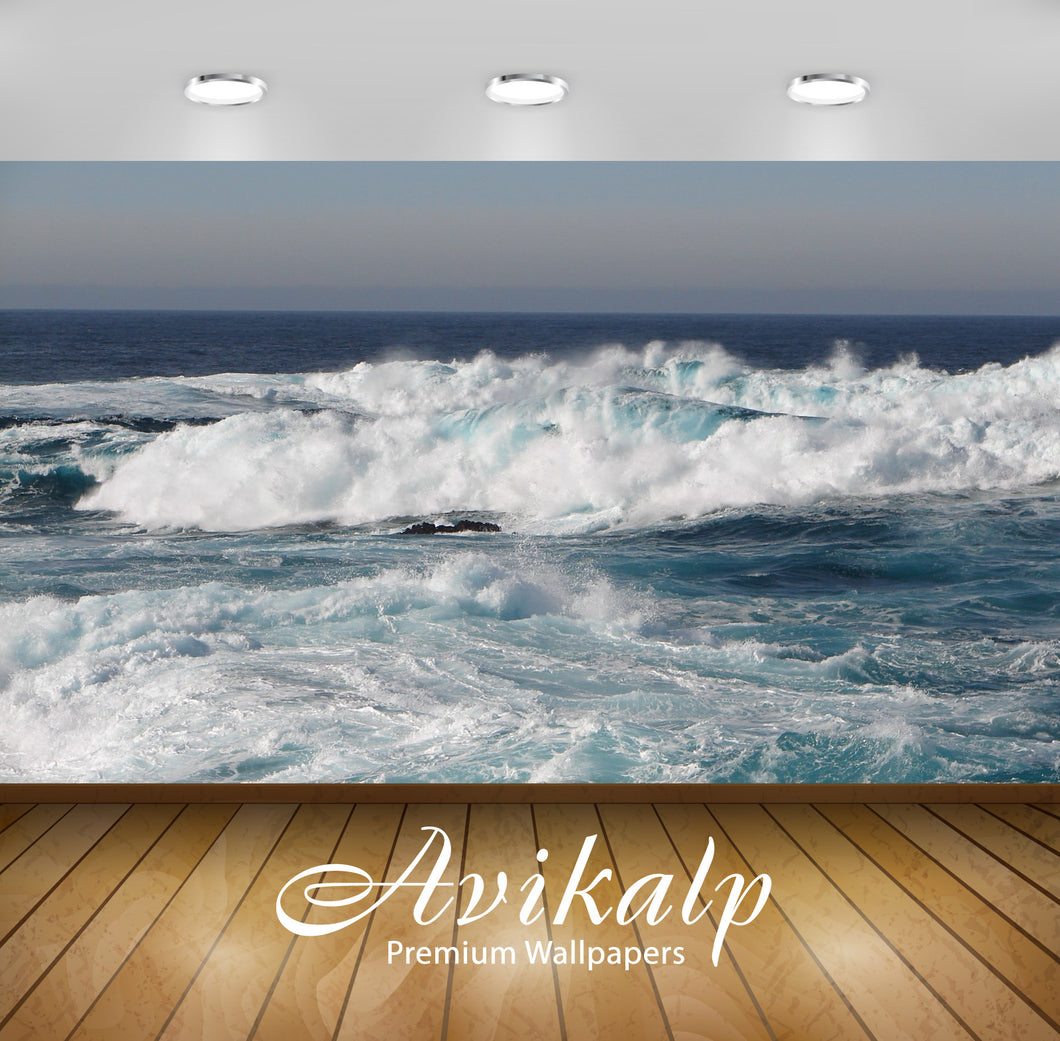 Avikalp Exclusive Awi1913 Sea Waves Full HD Wallpapers for Living room, Hall, Kids Room, Kitchen, TV