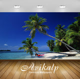Avikalp Exclusive Awi1920 White Sand Beach Palm Trees Full HD Wallpapers for Living room, Hall, Kids