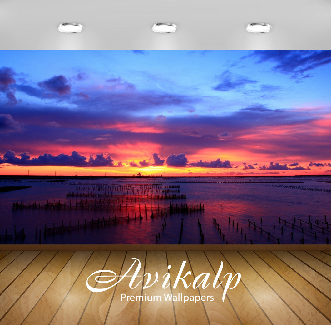Avikalp Exclusive Awi1948 Burning Sunset Full HD Wallpapers for Living room, Hall, Kids Room, Kitche