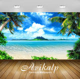 Avikalp Exclusive Awi1954 Beautiful White Sand Beach Palm Trees Full HD Wallpapers for Living room,