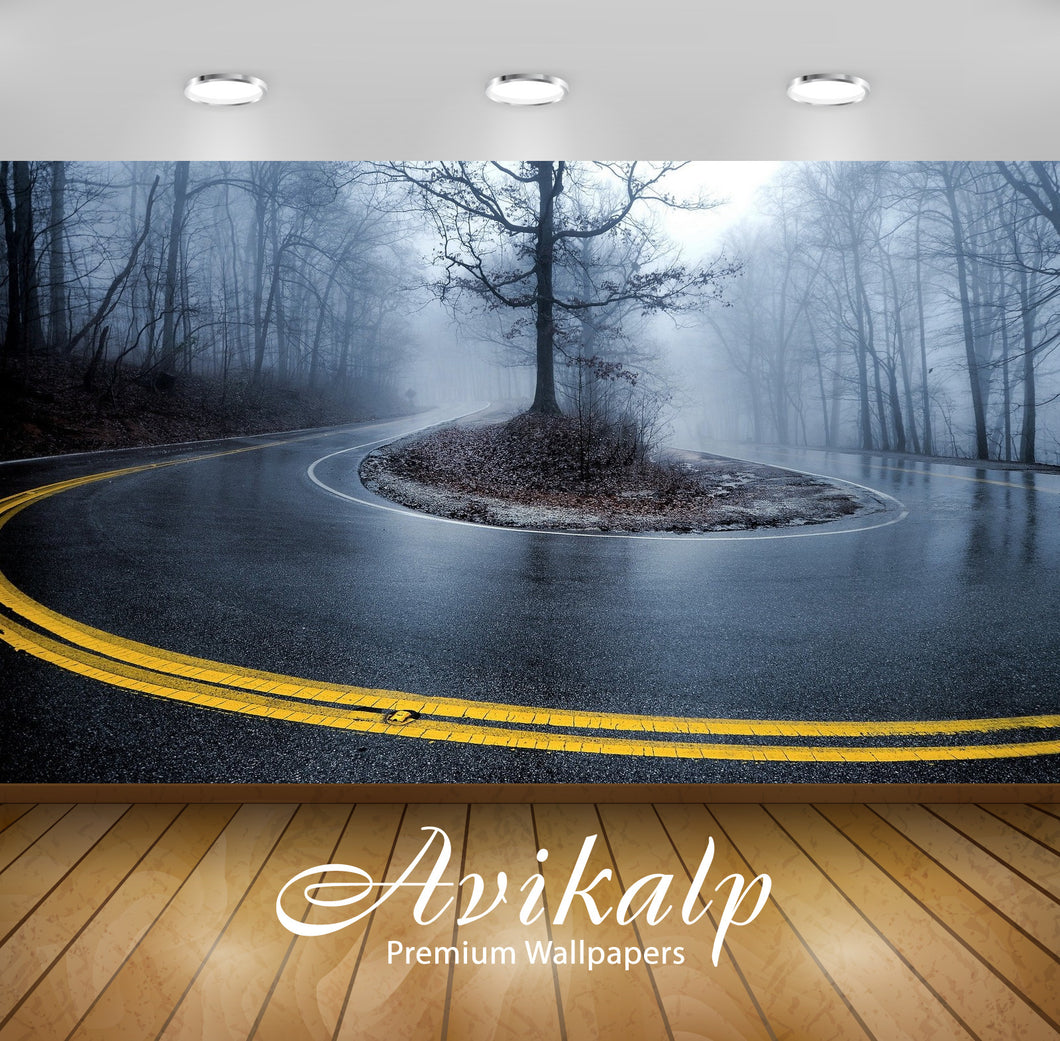 Avikalp Exclusive Awi1983 Foggy Road Full HD Wallpapers for Living room, Hall, Kids Room, Kitchen, T