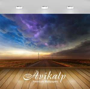 Avikalp Exclusive Awi1985 Road Clouds Full HD Wallpapers for Living room, Hall, Kids Room, Kitchen,