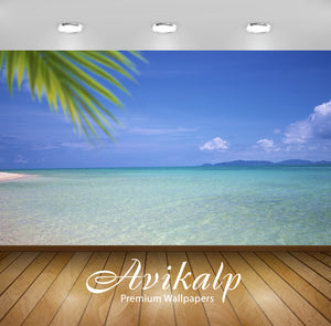 Avikalp Exclusive Awi1998 Green Water White Sand Beach Full HD Wallpapers for Living room, Hall, Kid