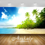 Avikalp Exclusive Awi2001 Wonder Sea Beach Palm Trees Full HD Wallpapers for Living room, Hall, Kids