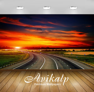 Avikalp Exclusive Awi2002 Sunset Time Beauty Of Roads Full HD Wallpapers for Living room, Hall, Kids