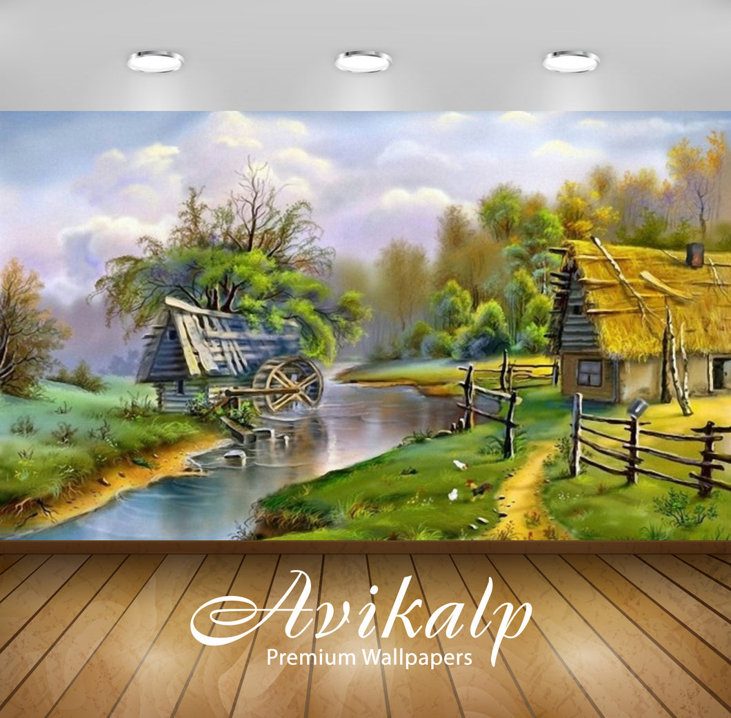Avikalp Exclusive Awi2034 Beautiful Landscape River Mill  Full HD Wallpapers for Living room, Hall,