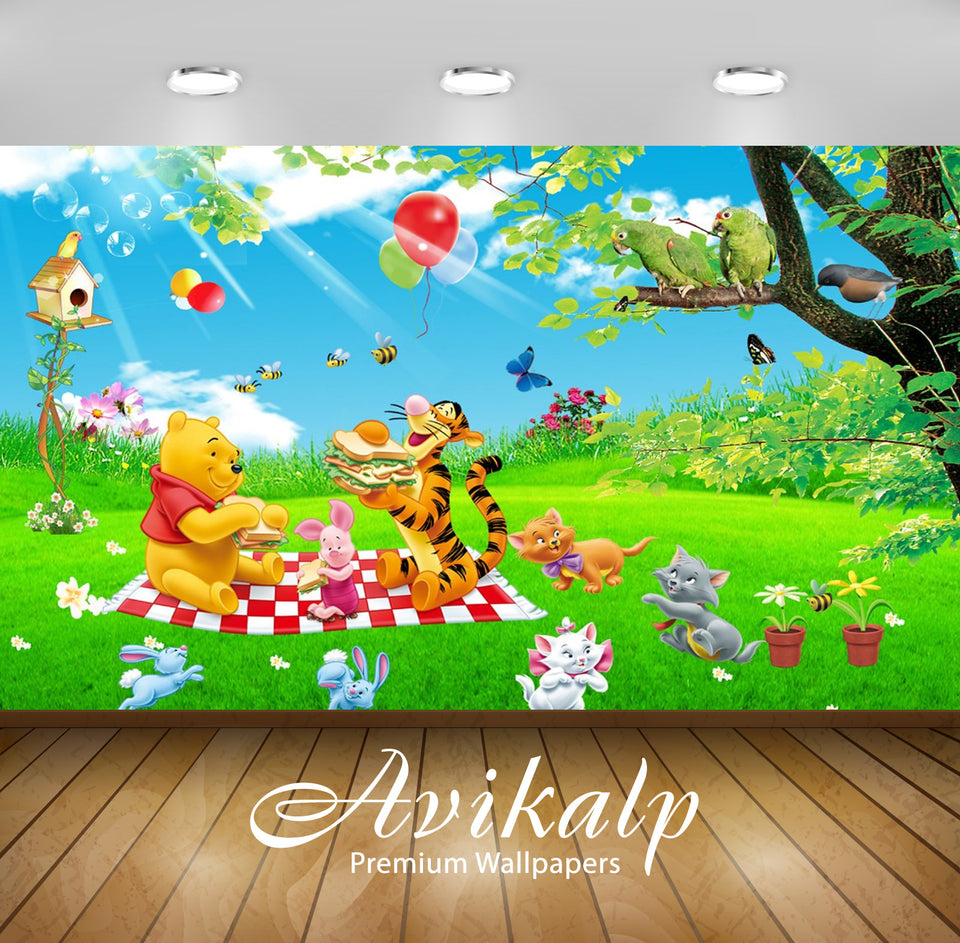 Avikalp Exclusive Awi2043 Cartoon Tigger Piglet And Winnie The Pooh Picnic Summer Nature Toast Sndvi